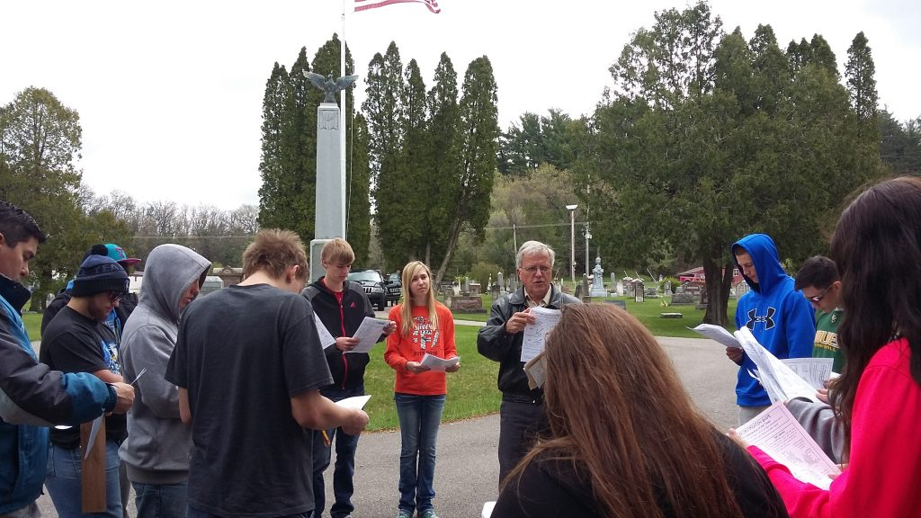 Arbor Day 2016, Village Administrator Lee Kucher addresses Wonewoc Center sophmore biology class reguarding Emerald Ash Borer.
